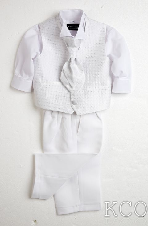 Sicily Classic White Shirt/White Trousers~ Boys White Suit